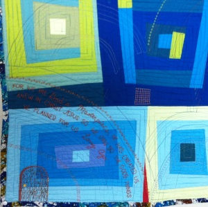 Close up of a quilt Debby made in Honor of The Bridge Sponsorship Program