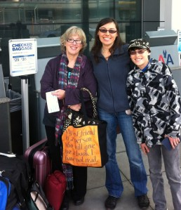 Our team: Debby, Wendy and Jason, checking our luggage in San Francisco, all fresh and ready for adventure.