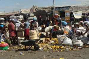 People trading at a Haitian market