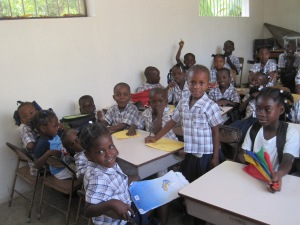 A classroom of kids at the school in Carreour Poy